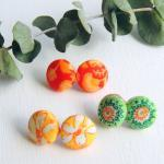 Fabric Stud Earrings - Set ..