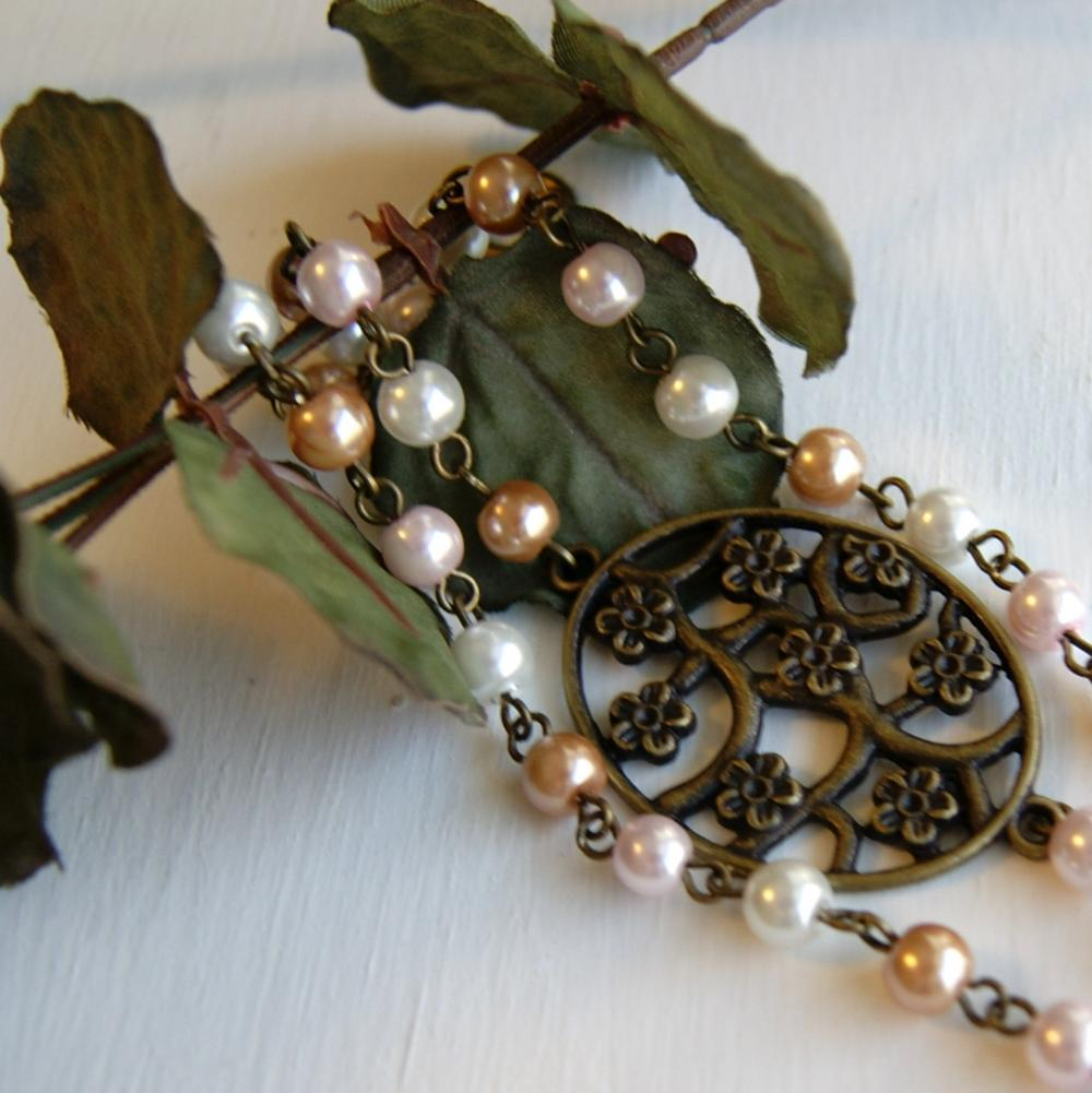 Flower Brass Charm with Pearls Bracelet