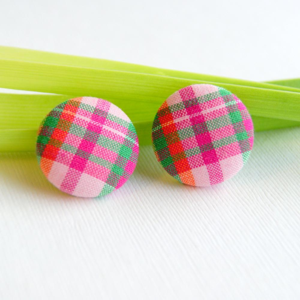 Pink Plaid with Orange and Green Stripes Button Earrings