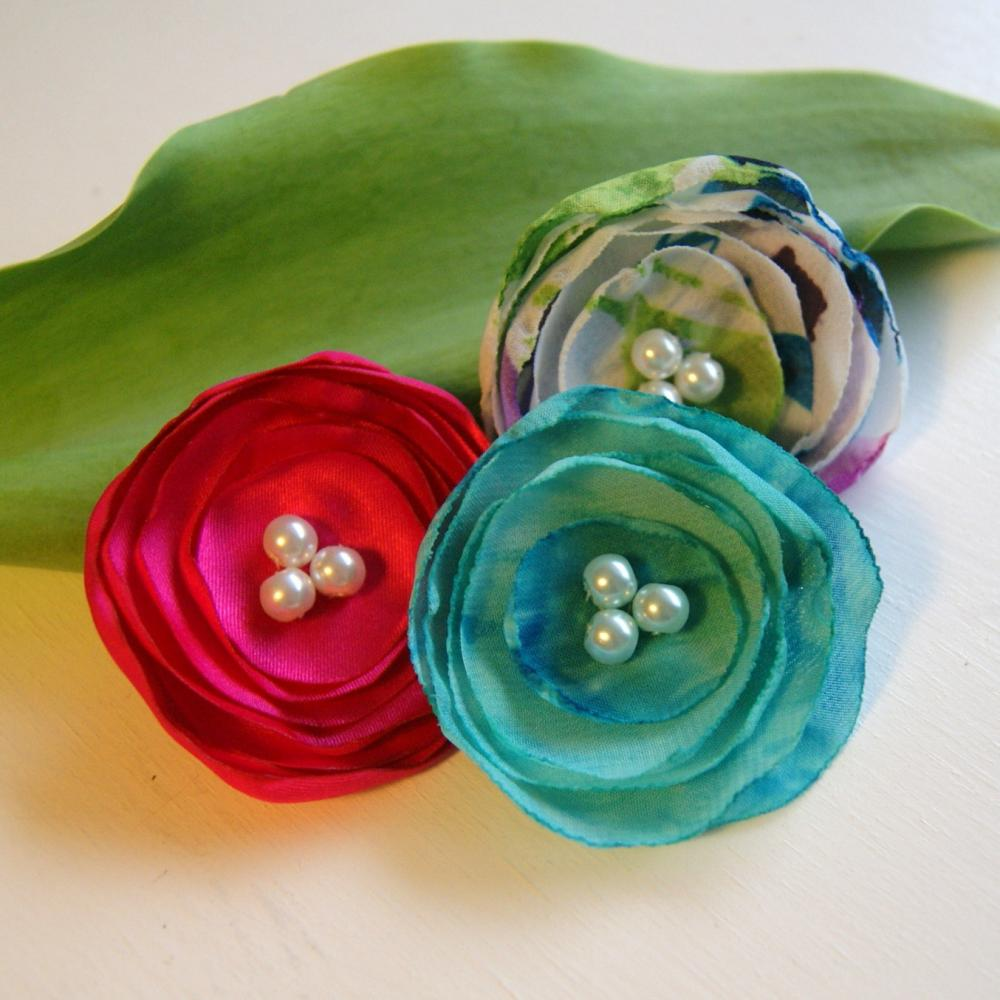 Hot Pink, White and Aqua Flower Hair Clips - Set of Three
