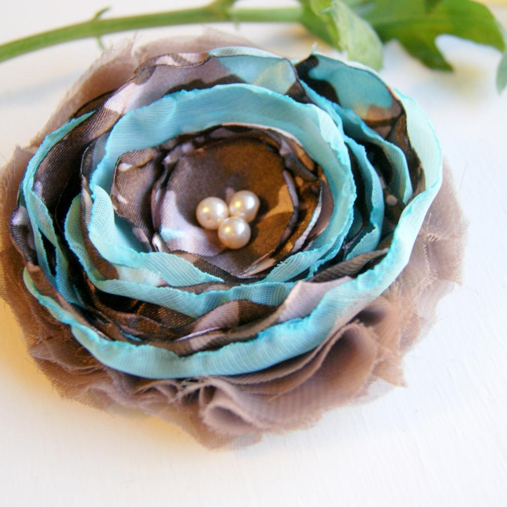 Taupe and Blue Fabric Flower Pin