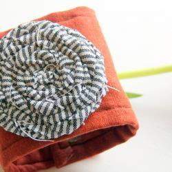 Orange Fabric Rosette Cuff Bracelet