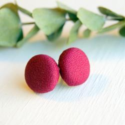 Cranberry Button Stud Earrings